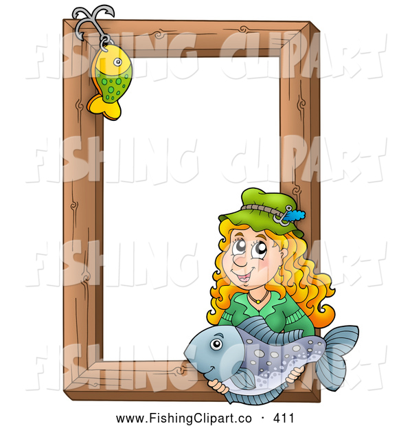 Clip Art of a Fishing Hook and Friendly Woman Holding a Fish over a Wooden Frame