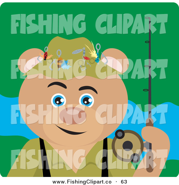 Clip Art of a Fishing Tan Teddy Bear Character