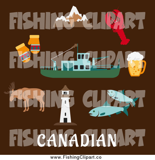 Clip Art of a Flat Design of the Canadian Rocky Mountains, Lighthouse, Elk, Mittens, Beer Tankard, Lobster, Fish and Fishing Trawler over Brown
