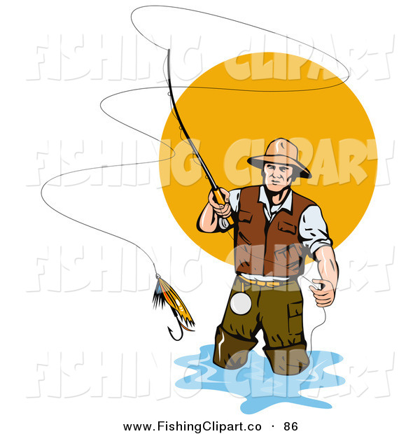 Clip Art of a Fly Fisherman Casting the Bait into the Water