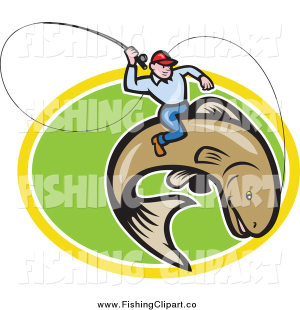 Clip Art of a Fly Fisherman Riding a Trout over a Green and Yellow Oval