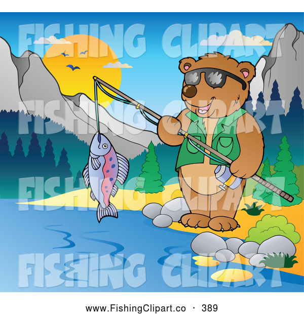 Clip Art of a Friendly Bear Camper Fishing in the Woods