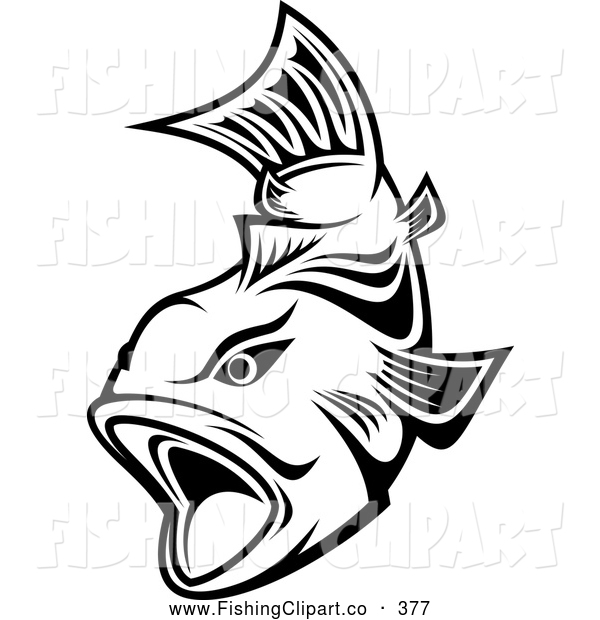 Clip Art of a Friendly Black and White Trout Swimming with Mouth Open