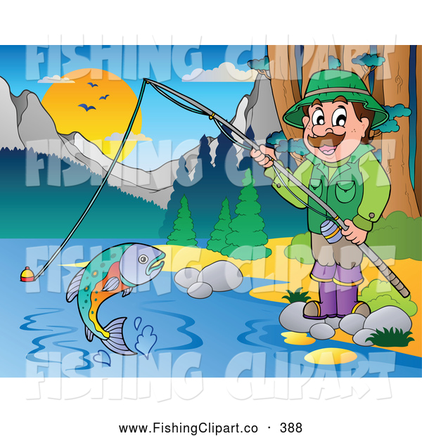 Clip Art of a Friendly Man Fishing at a Quiet Lake in the Woods