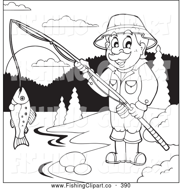Clip Art of a Friendly Outlined Man Fishing at a Lake