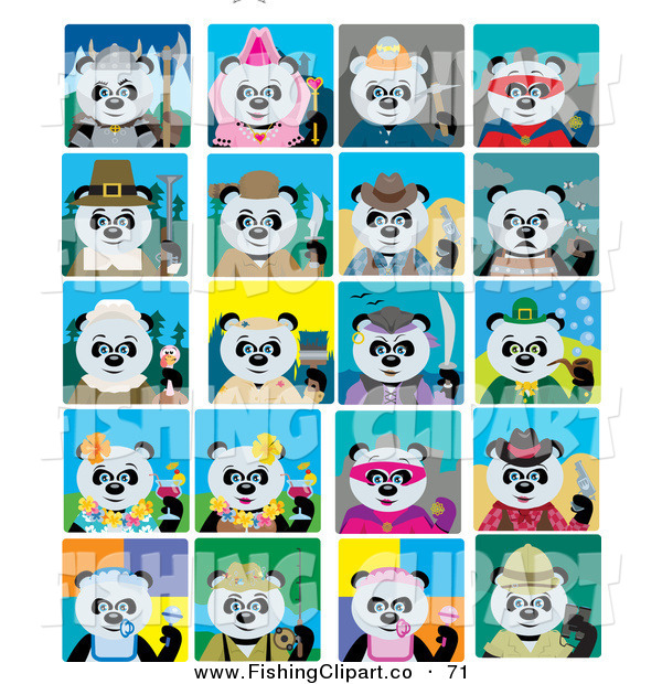 Clip Art of a Giant Panda Bears in Multiple Costumes and Poses on Tiled Backgrounds