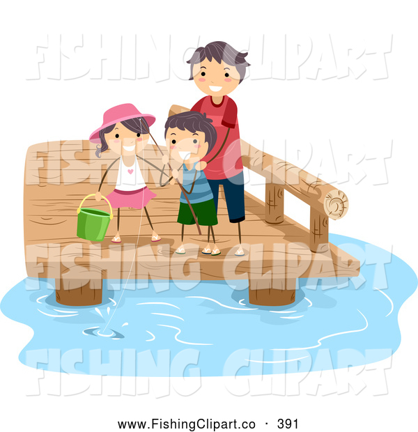 Clip Art of a Good Dad Fishing with His Kids