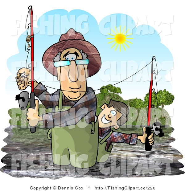 Clip Art of a Grandfather and Grandson River Fishing on a Sunny Day