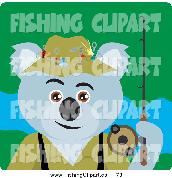 Clip Art of a Gray Koala Bear Fishing Character
