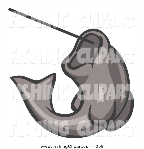 Clip Art of a Gray Trout Fish Jumping up and Biting a Hook on a Fishing Line