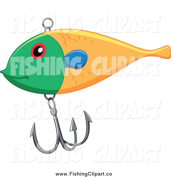 Clip Art of a Green and Yellow Fishing Lure with a Hook
