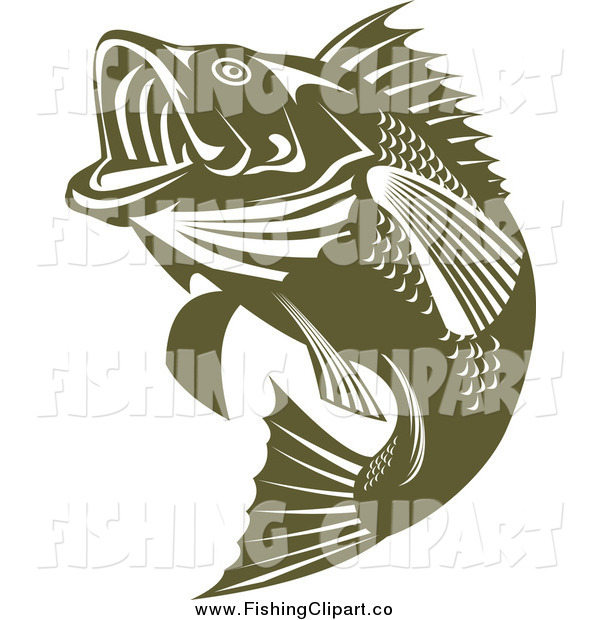 Clip Art of a Green Jumping Largemouth Bass Fish Facing Left by ...