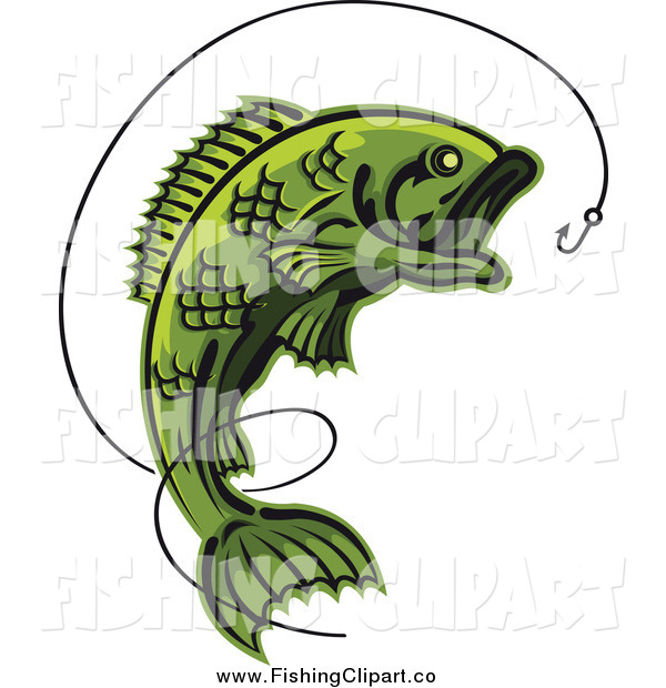 Clip Art of a Green Leaping Fish and Line with a Hook