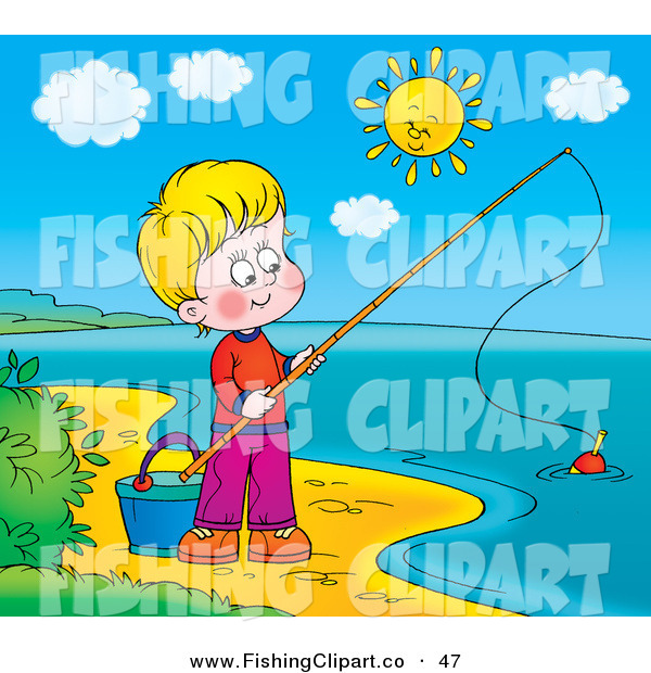 Clip Art of a Happy Boy Fishing on the Shore of a Still Lake on a Sunny Day
