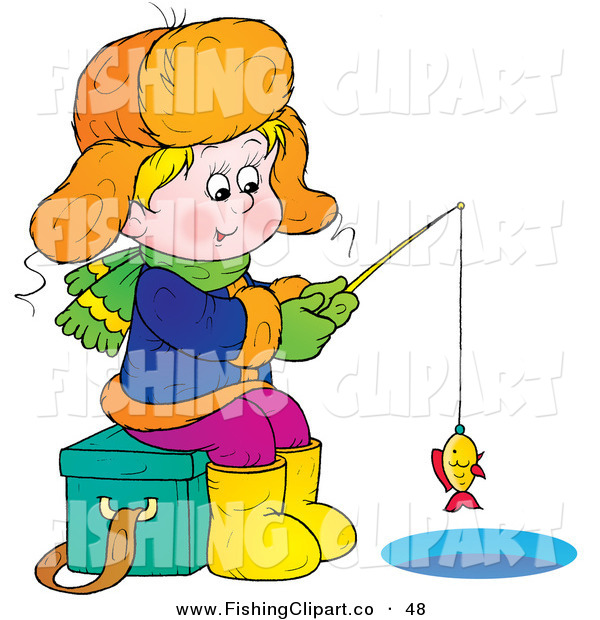 Clip Art of a Happy Boy Sitting on an Ice Chest While Ice Fishing, Reeling in a Little Fish