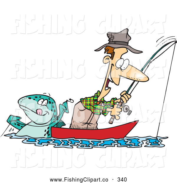 Clip Art of a Happy Cartoon Fish Tugging on a Man