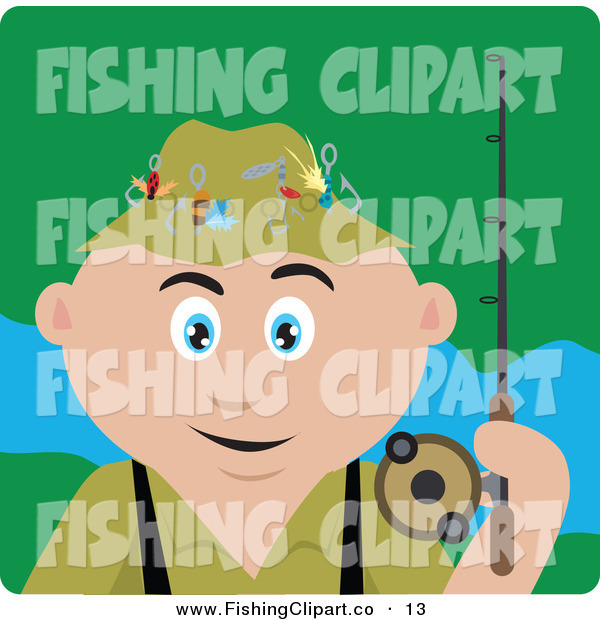 Clip Art of a Happy Caucasian Man Fishing and Holding His Pole