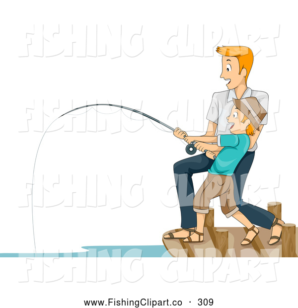 Clip Art of a Happy Father and Son Reeling in a Big Catch
