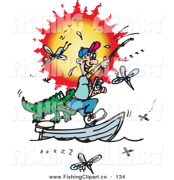 Clip Art of a Happy Fishing Man Getting Bit in the Butt by a Crocodile, Surrounded by Mosquitoes