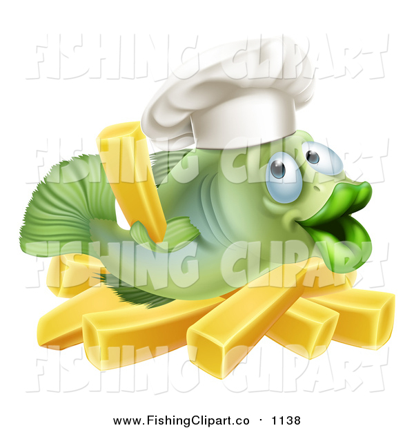 Clip Art of a Happy Green Cod Fish Chef Holding a French Fry over Chips