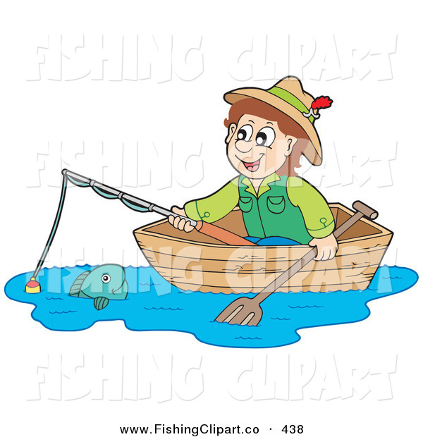 Clip Art of a Happy Irish Man Looking at a Fish from a Boat