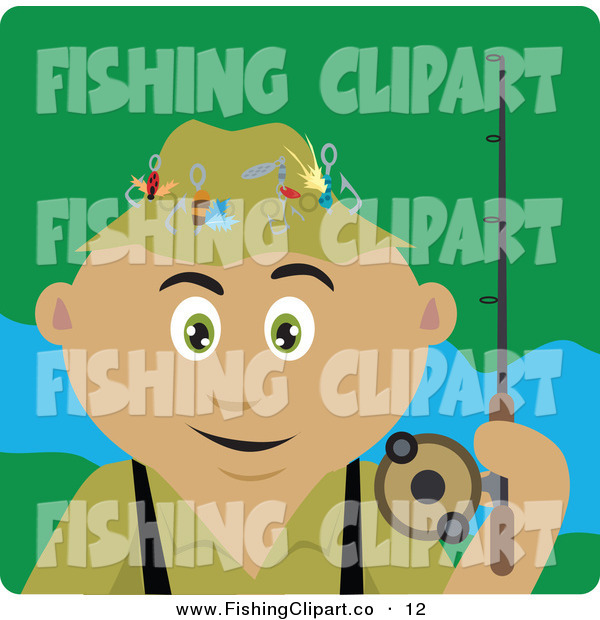 Clip Art of a Happy Latin American Man Fishing and Holding His Pole