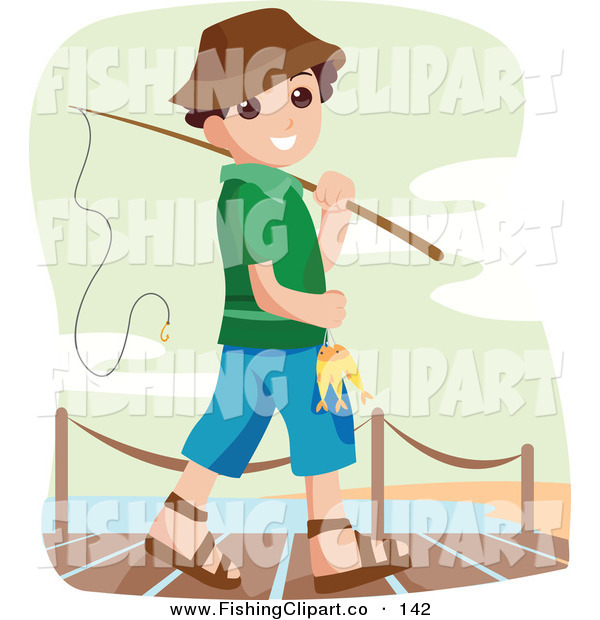 Clip Art of a Happy Little Boy Going Fishing off the Dock