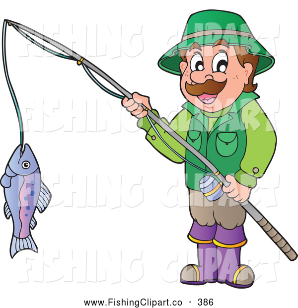Clip Art of a Happy Man Holding His Catch on a Fishing Pole