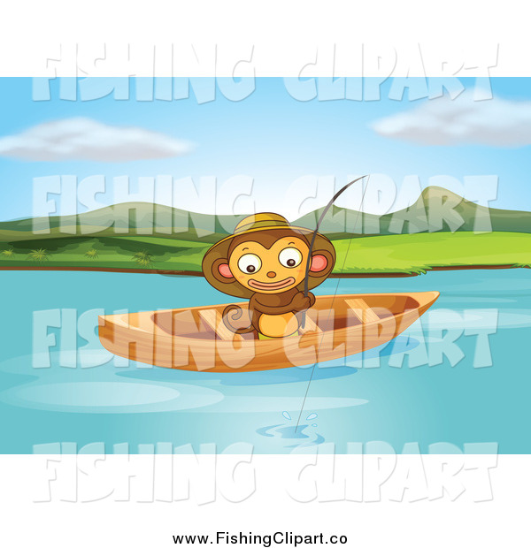 Clip Art of a Happy Monkey Fishing from a Boat