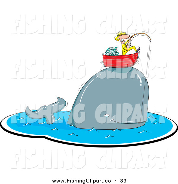 Clip Art of a Happy Whale Caught on a Fishing Pole, Lifting up a Man in His Boat