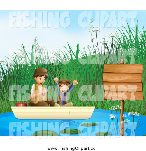 Clip Art of a Happy White Boy and His Father Fishing by a Sign