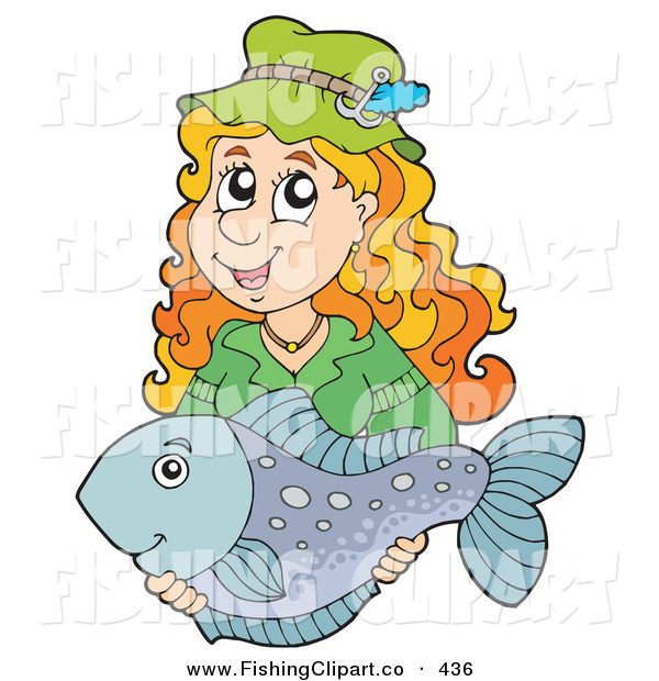 Clip Art of a Happy Woman Holding Her Smiling Caught Fish