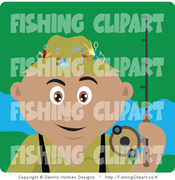 Clip Art of a Hispanic Fisherman