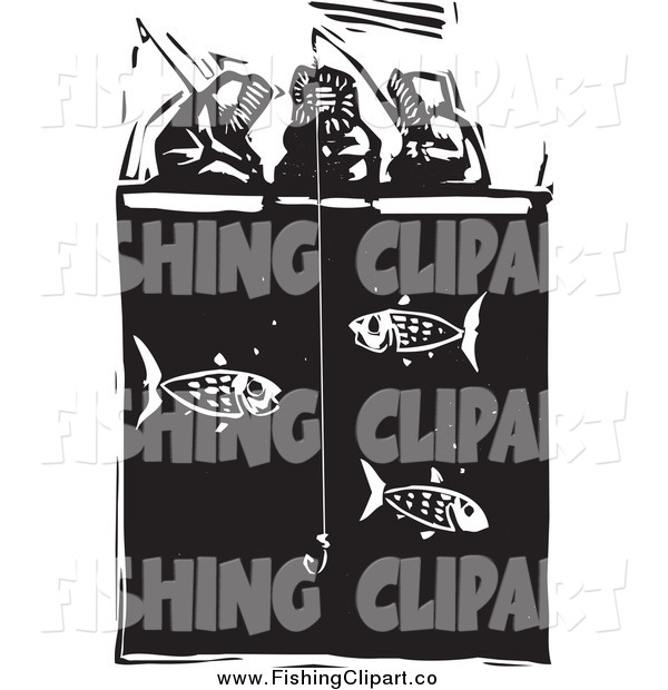 Clip Art of a Inuit Eskimos Ice Fishing Black and White