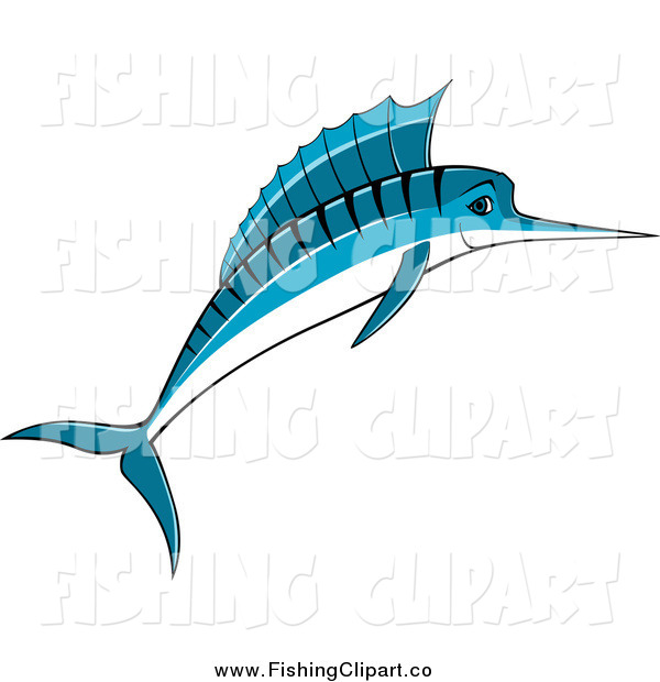 Clip Art of a Jumping Blue Marlin Fish Smiling