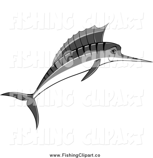 Clip Art of a Jumping Grayscale Marlin
