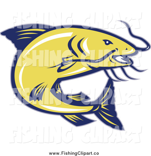 Clip Art of a Jumping Yellow and Blue Catfish