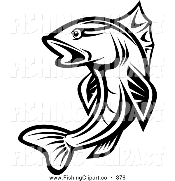 Clip Art of a Leaping Black and White Trout