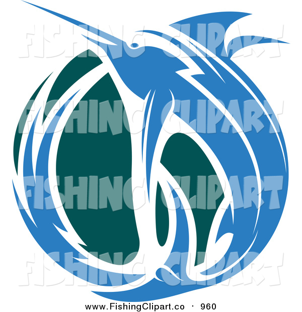 Clip Art of a Leaping Blue Marlin Fish and Teal Wave