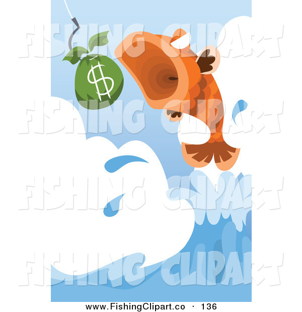 Clip Art of a Leaping Fish About to Eat a Bag of Money
