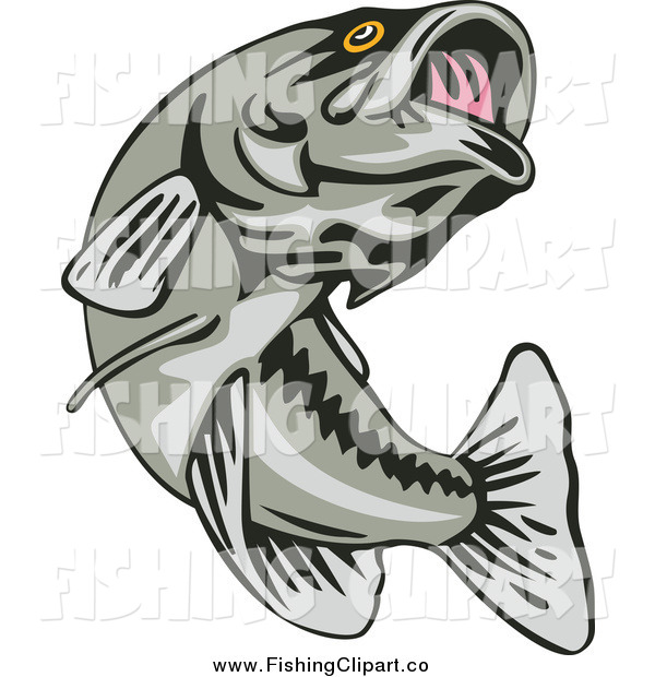 Clip Art of a Leaping Largemouth Bass Fish