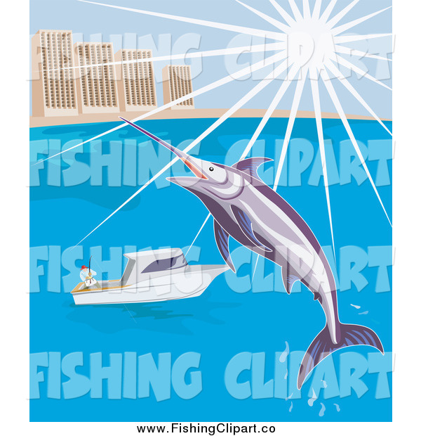 Clip Art of a Leaping Marlin over a Boat by a City