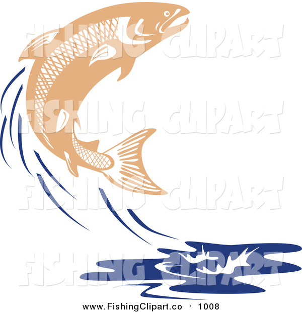 Clip Art of a Leaping Salmon Fish and Blue Water Splash