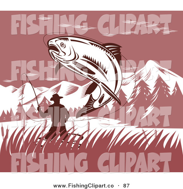 Clip Art of a Leaping Trout Caught on a Fisherman's Hook and Line