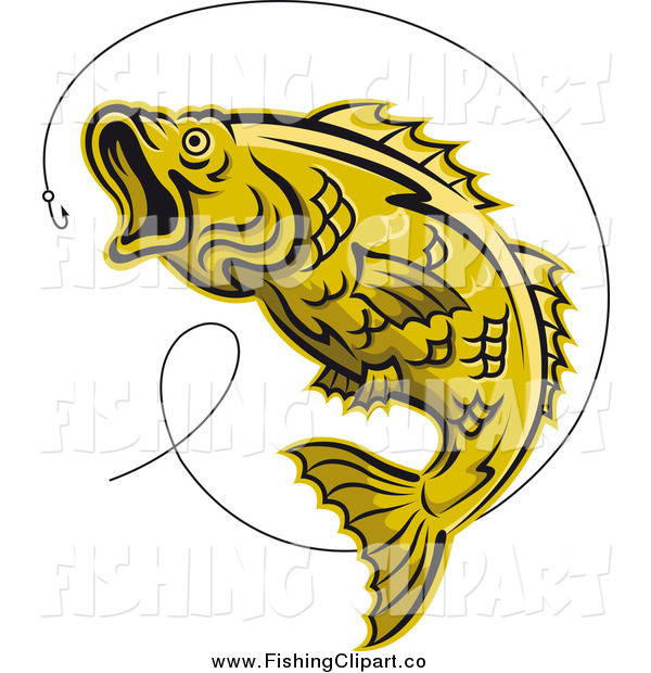 Clip Art of a Leaping Yellow Trout Fish and Hook