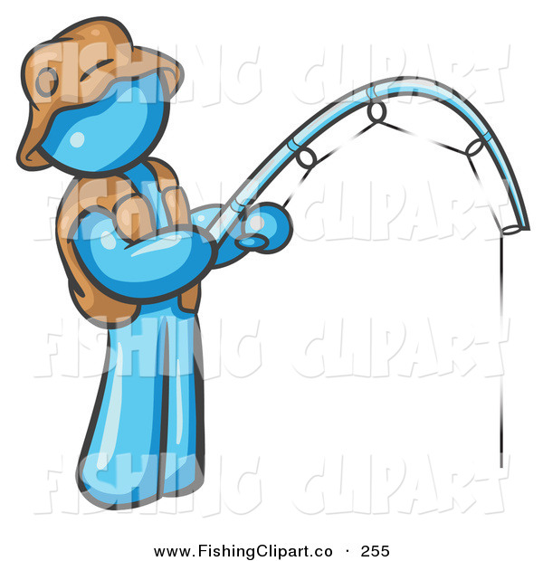 Clip Art of a Light Blue Fisherman Wearing a Hat and Vest and Holding a Fishing Pole