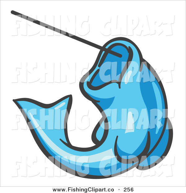 Clip Art of a Light Blue Trout Fish Jumping up and Biting a Hook on a Fishing Line