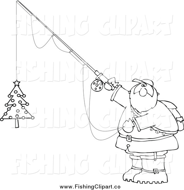 Clip Art of a Lineart Chubby Santa Holding a Christmas Tree on a Fishing Hook