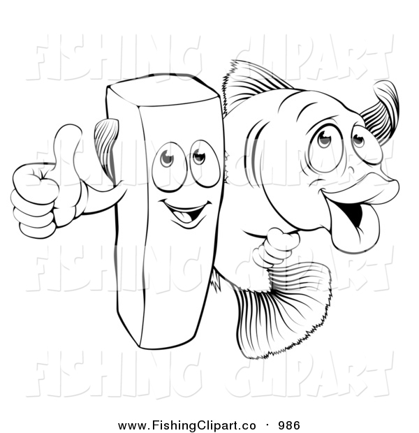 Clip Art of a Lineart Happy French Fry Chip and Fish