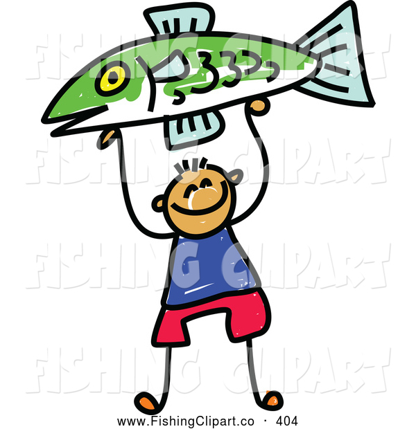 Clip Art of a Little Boy Proudly Holding up a Caught Fish